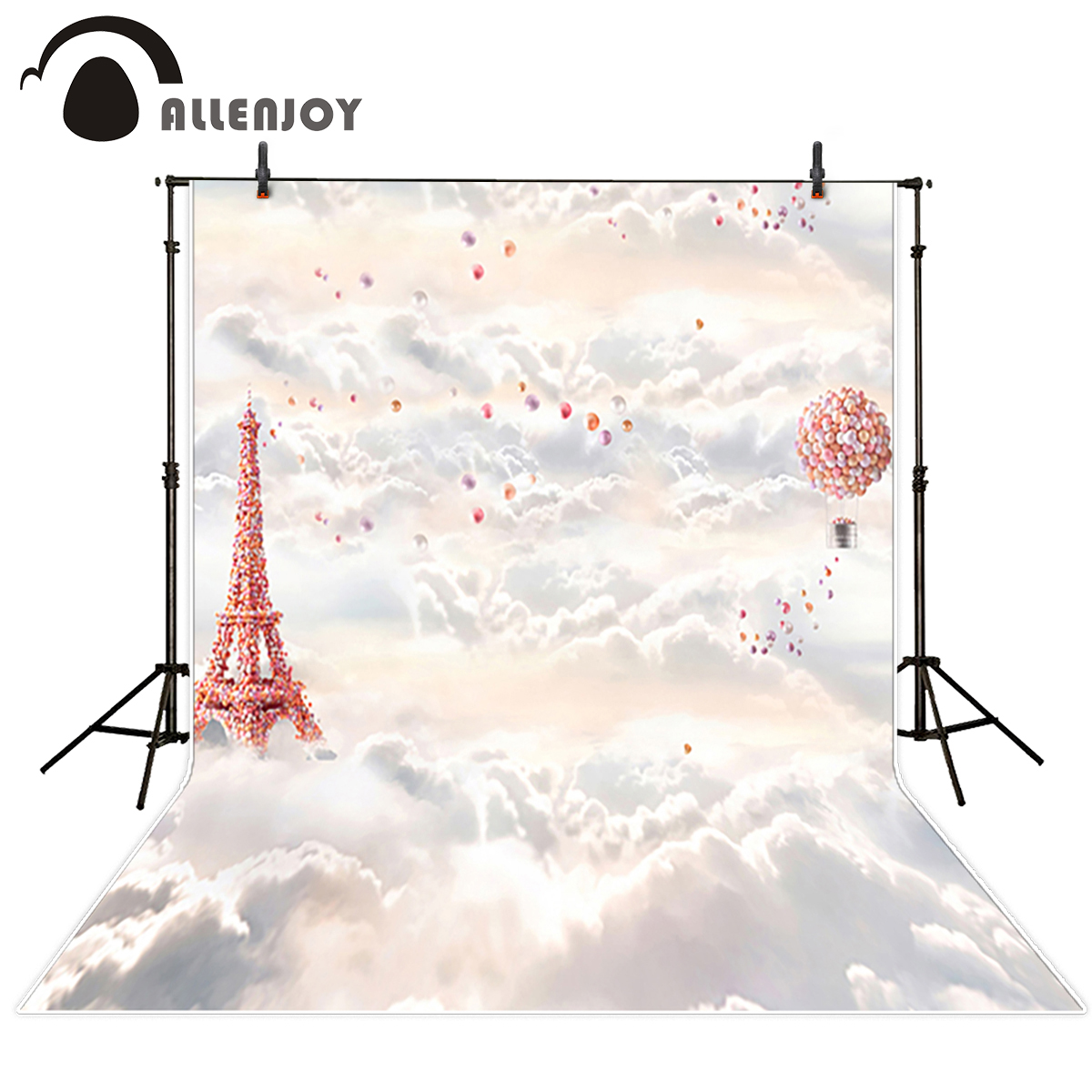 Allenjoy photography backdrop sky cloud balloon Eiffel Tower background new photo studio photobooth newborn photocall ao058r 2m sky balloon new brand attrative pvc helium balloon custom advertising inflatable balloon