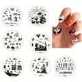 Halloween Nail Stamping Templates Stamp Plate Image Printing Transfer Polish Stamp Bats Vampire Pumpkins Horrible Face 30 Style