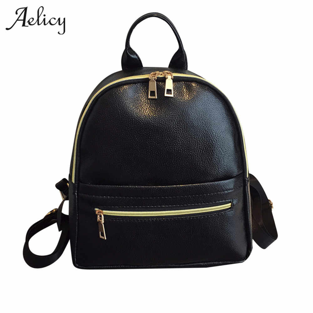 faf8f6e955f Aelicy Mini Small Backpack Women Bag Travel School Bags for Teenage Girls  PU Leather Backpacks simple