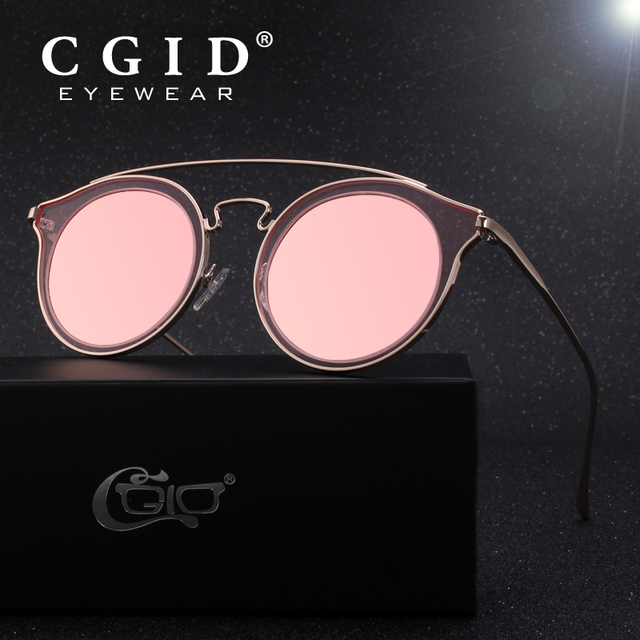 282bc0854b3 CGID Womens Fashion Double Metal Bridge Crossbar Round Polarized Sunglasses  UV400 Mirrored Lens MJ78