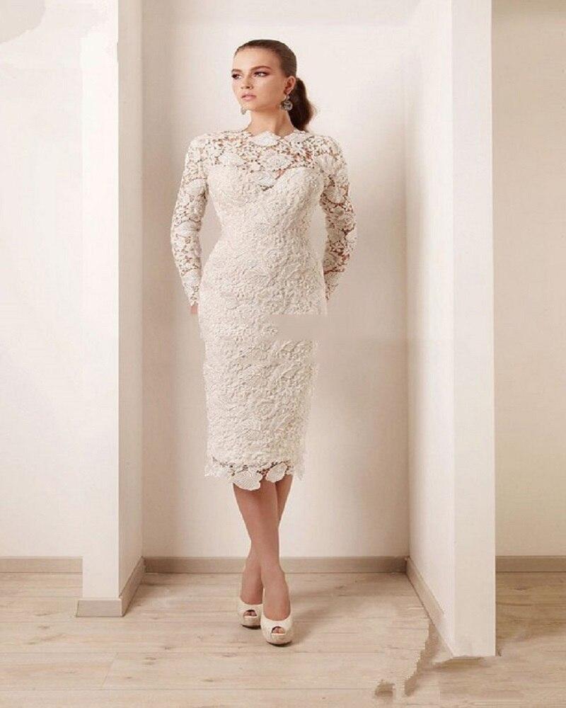 new sexy high neck full sleeve lace robe de cocktail dress vestido de festa