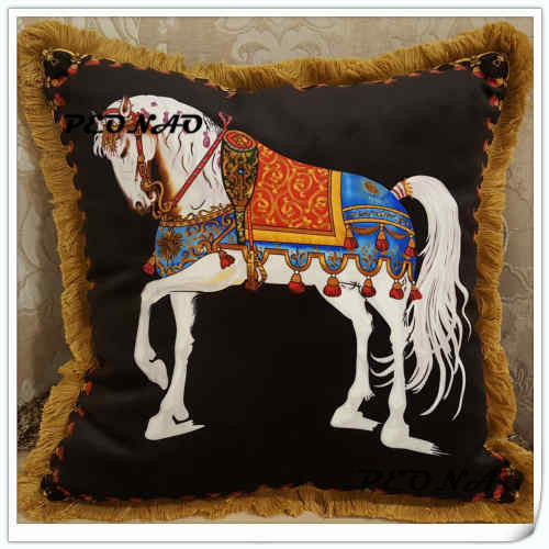 Free shipping wholesale square classic horse cushion, sofa cushion,design pillow cover ,CUSHION COVER ONLY ,Double sides pattern