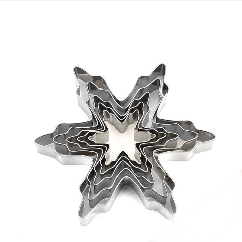 Geebake Christmas snowflake DIY baking stainless steel cake mold ice snow hand biscuit mold fruit cut Cui Si circle