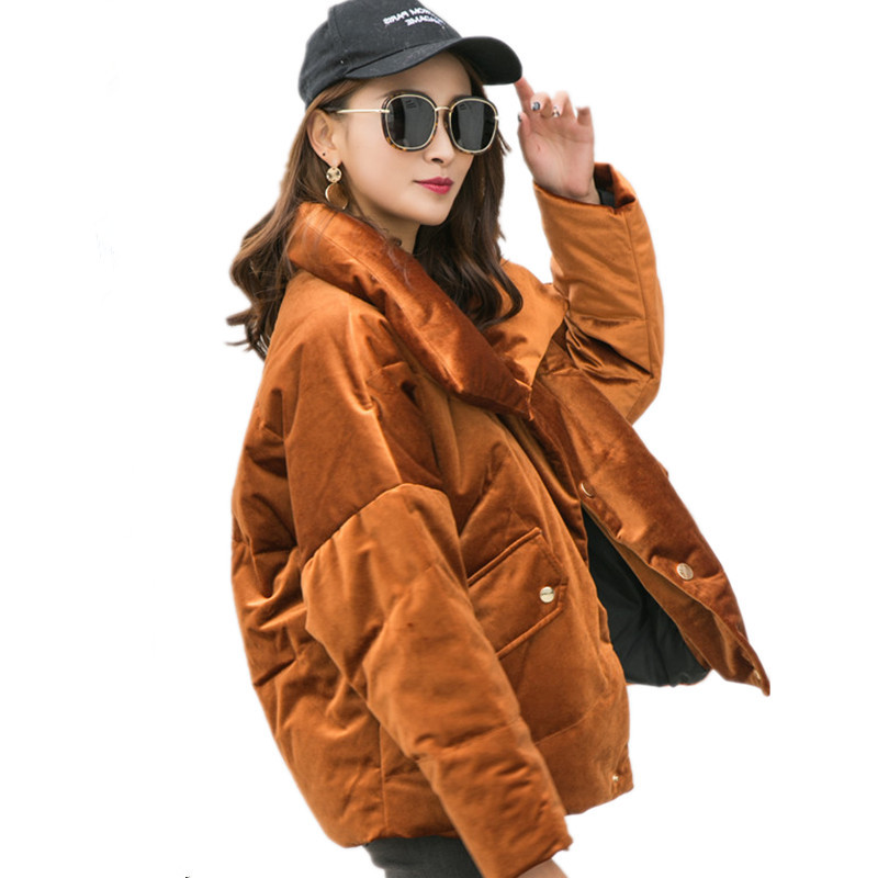Velvet Down Cotton Loose Short Parkal Thick High Quality Solid Color Warm Winter Coat Women Abrigo Mujer Winter Jacket TT3525 cotton velvet golf towel random color