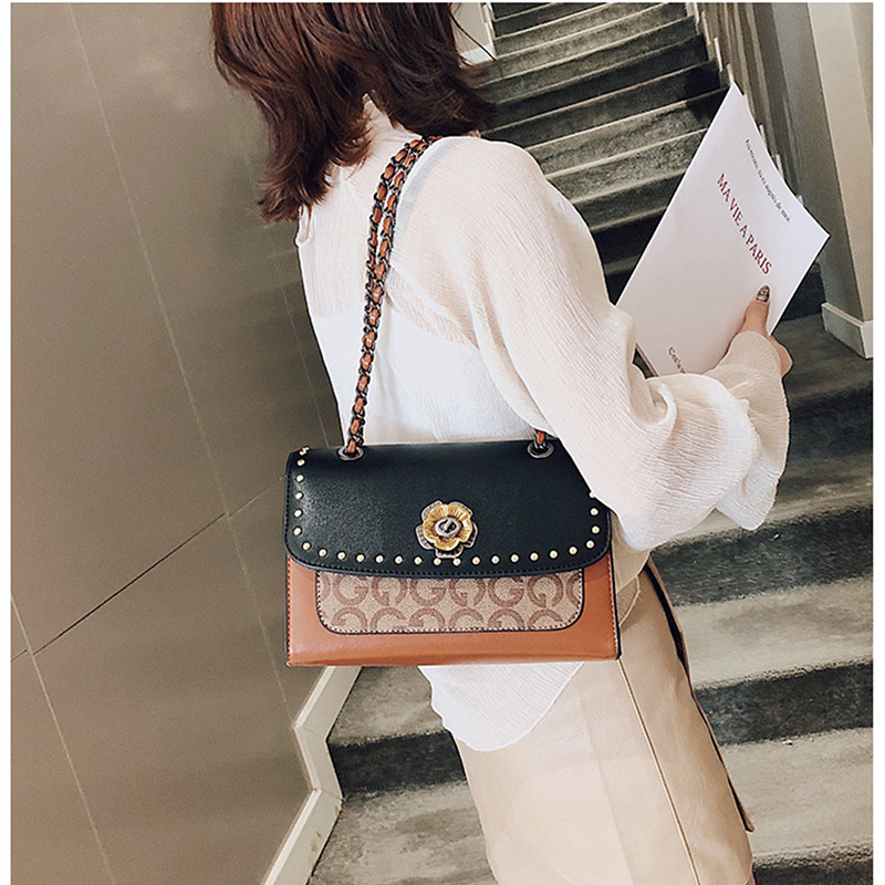 New Fashion Women s Patchwork Chain Bags Leisure Large Capacity Ladies PU Fashion Cover Messenger Pockets