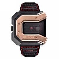 Leisure sport square leather strap men's watch business waterproof wristwatch