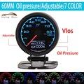HB Hot Gauge Oil Press Gauge GRedi 7 Light Colors LCD Display With Voltage Oil Pressure 60mm 2.5 Inch With Sensor Racing Gauge
