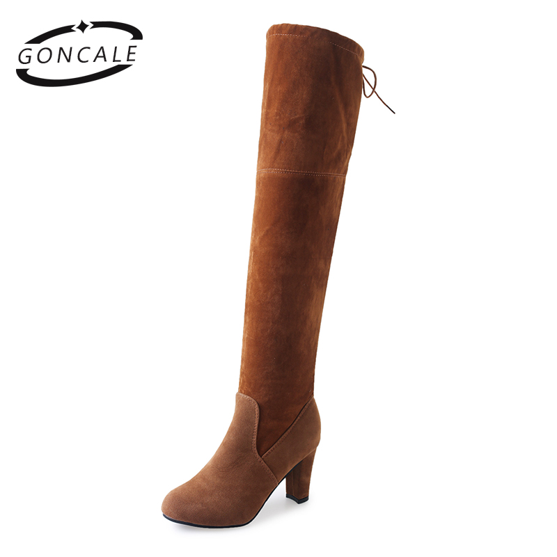 2017 New Sexy Women over the knee boots high heels Platform Woman Shoes thigh high boots for plus Size women Grey Black 2016 new boots shoes women suede thigh high boots sexy fashion over the knee boots platform chunky heels plussize shoes woman 24