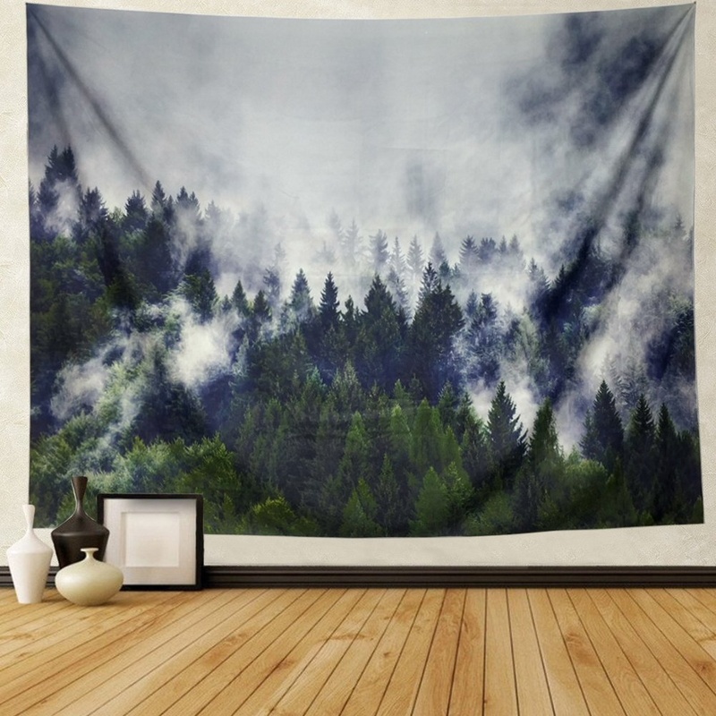 Grey Fog Tapestry 3D Misty Forest Tree Tapestry Nature Landscape Wall Hanging Tapestry Mandala Boho Tapestry For Bedroom Dorm