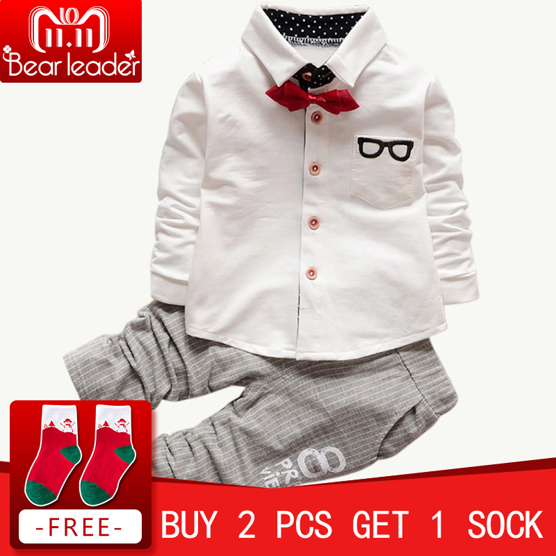 все цены на Bear Leader Baby Clothing Sets Kids Clothes Autumn Baby Sets Kids Long Sleeve Sports Suits Bow Tie T-shirts + Pants Boys Clothes
