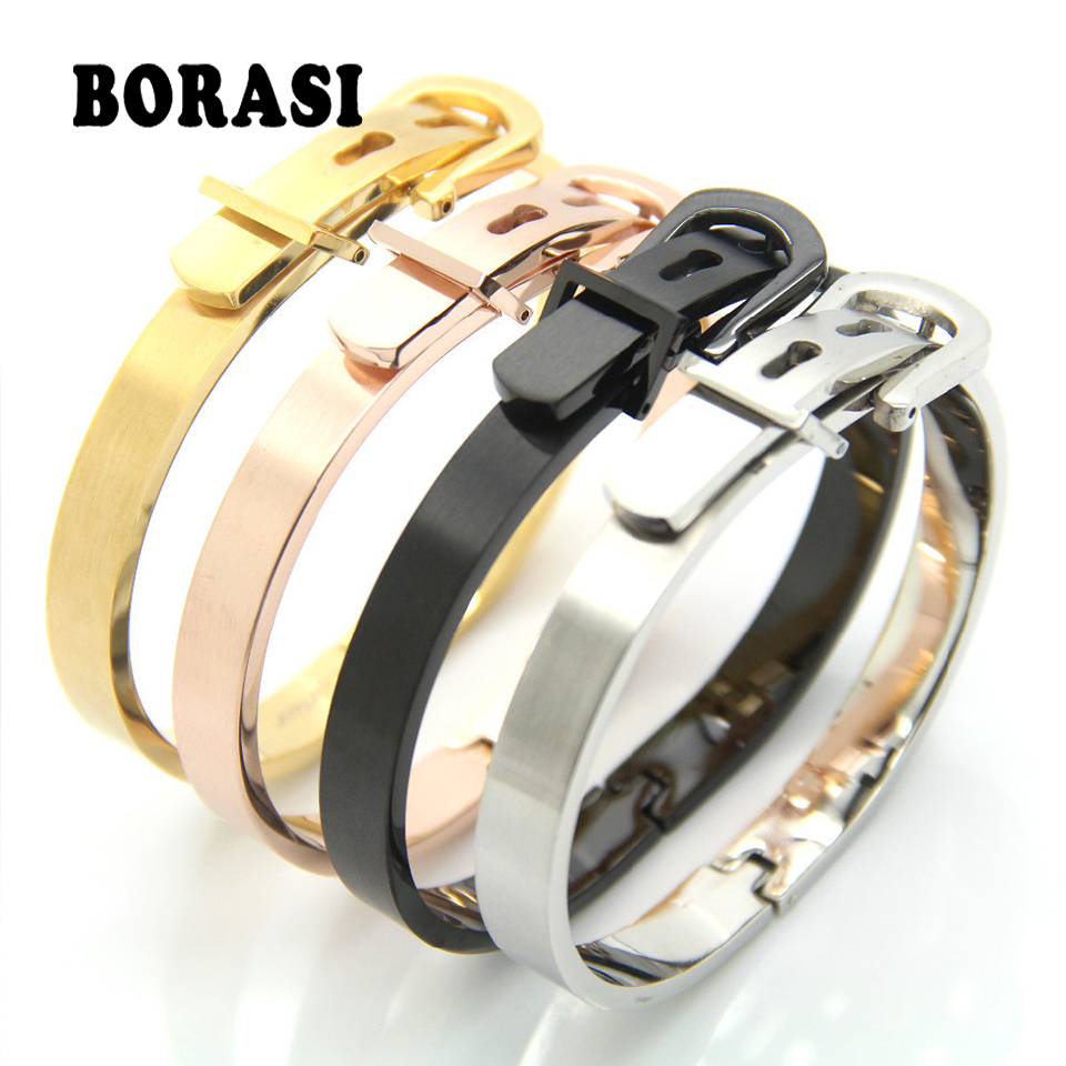 Famous Fashion Brand Jewelry Bangle Unisex Women/Men Jewelry Wholesale 4 Colors Gold Color Round Trendy Belt Bracelets Bangles
