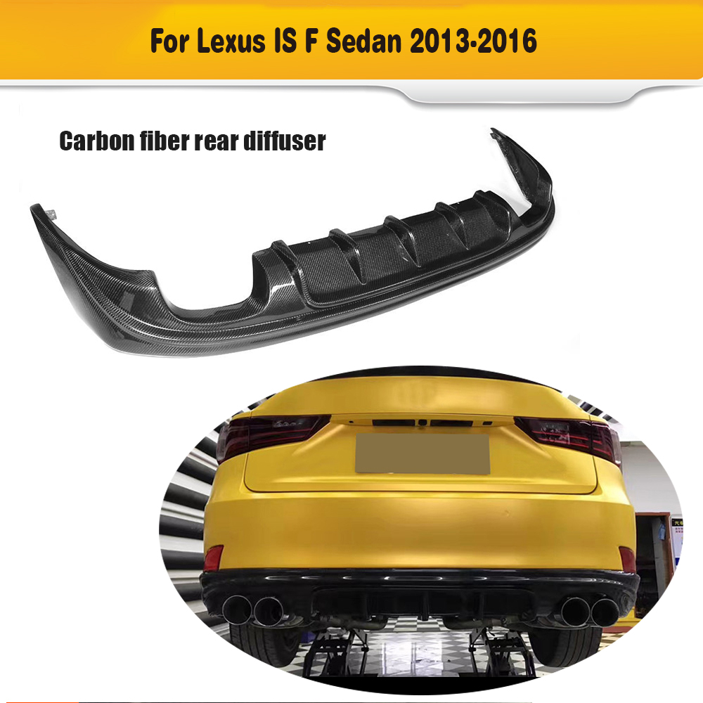 Carbon Fiber Rear Bumper Exhaust Diffuser Lip Spoiler for Lexus IS ISF Sedan 4 Door IS200T IS250 IS300 IS350 13-16 Four Outlet 2007 bmw x5 spoiler