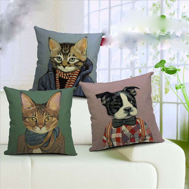 Hot New Beautiful Pillow Covers Lovely Cats Throw Pillows Case For 18′ Pillow Covers Vintage Home Decorative Capa Para Almofada