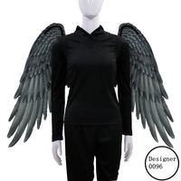 XintComic High Quality textile Soft Adult Women man Cosplay Costume Black and White Angel Wings for Halloween Christmas