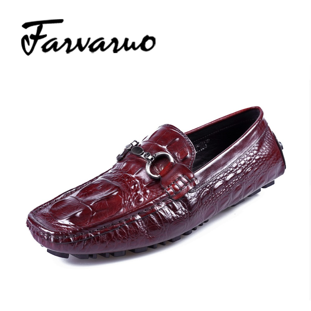 Farvarwo Genuine Leather Alligator Crocodile Shoes Luxury Men Brand New Fashion Driving Shoes Men's Casual Flats Slip On Loafers new style comfortable casual shoes men genuine leather shoes non slip flats handmade oxfords soft loafers luxury brand moccasins