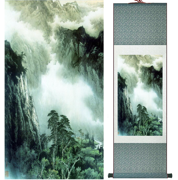 landscape painting Home Office Decoration Chinese scroll painting mountain and River paintingPrinted painting042204