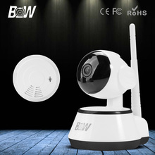 BW HD 720P IP Camera P2P Smart Pan Tilt IR Cut WiFi Wireless Surveillance Network Baby Monitor Security + Smoke Detector Alarm