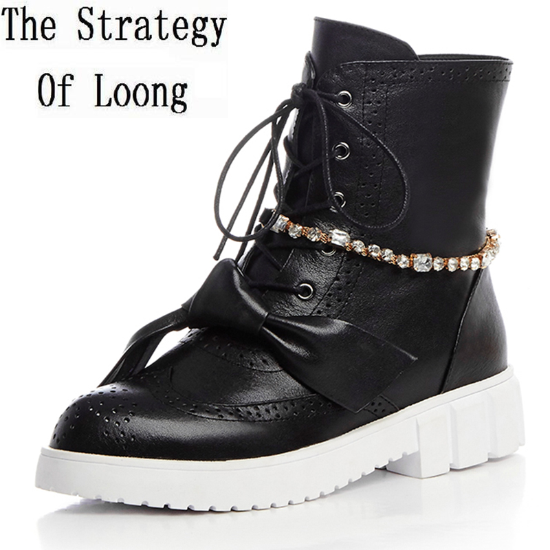 2017 New Casual Lace Up Crystal High Top Chunky Full Grain Leather Women Boots Pointed Toe Anti Skid Winter Ankle Boots ZY170829 new arrival women boots plus size shoes lcce up pointed toe high quality full grain leather fashion boots free shipping