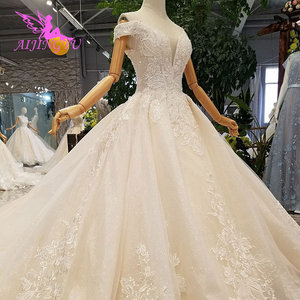 Image 5 - AIJINGYU Wedding Dress Train Turkey Sparkly Sequins Grey Womens Luxury Ball 3Xl Gown Prices Lace Bridal Gowns