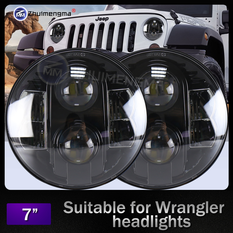 DOT Approved High Low Beam 7 80w Led Headlight for Land Rover Defender Wrangler JK Head lamp High Powe Harley headligh
