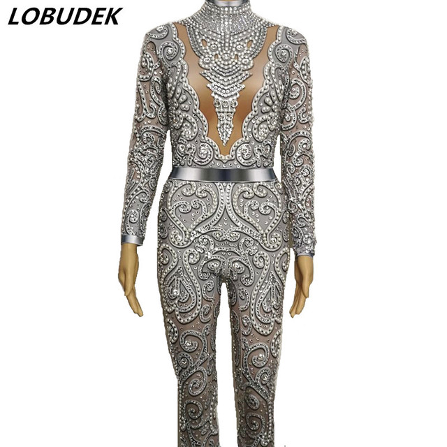 Sparkly Glass Stones Pearl Jumpsuit Sexy Skinny Silver Gray Rhinestones Bodysuit Lady DJ Bar Singer Catwalk Party Stage Costume