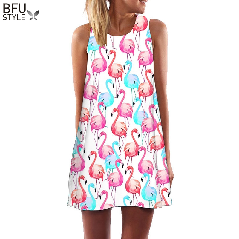 Azul rosa Flamingo imprimir verano Vestido de las mujeres sin mangas Mini vestidos Sexy Floral Shift Beach Boho Sundress Vestido