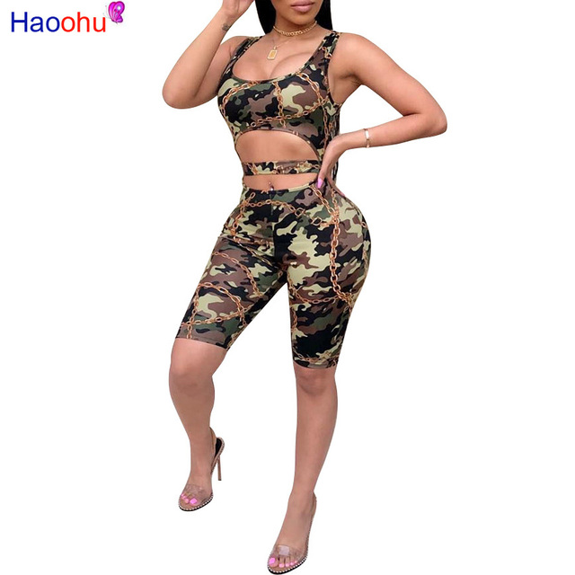5002263bab1c HAOOHU 2018 new sexy Summer Camouflage print Hollow Out Sleeveless short Casual  Romper Womens jumpsuit