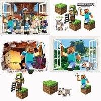Cartoon 3D Vivid Minecraft Muurstickers Voor Kinderen Kamers Art Mural Steve Poster Voor Home Decor Populaire Games Muurstickers