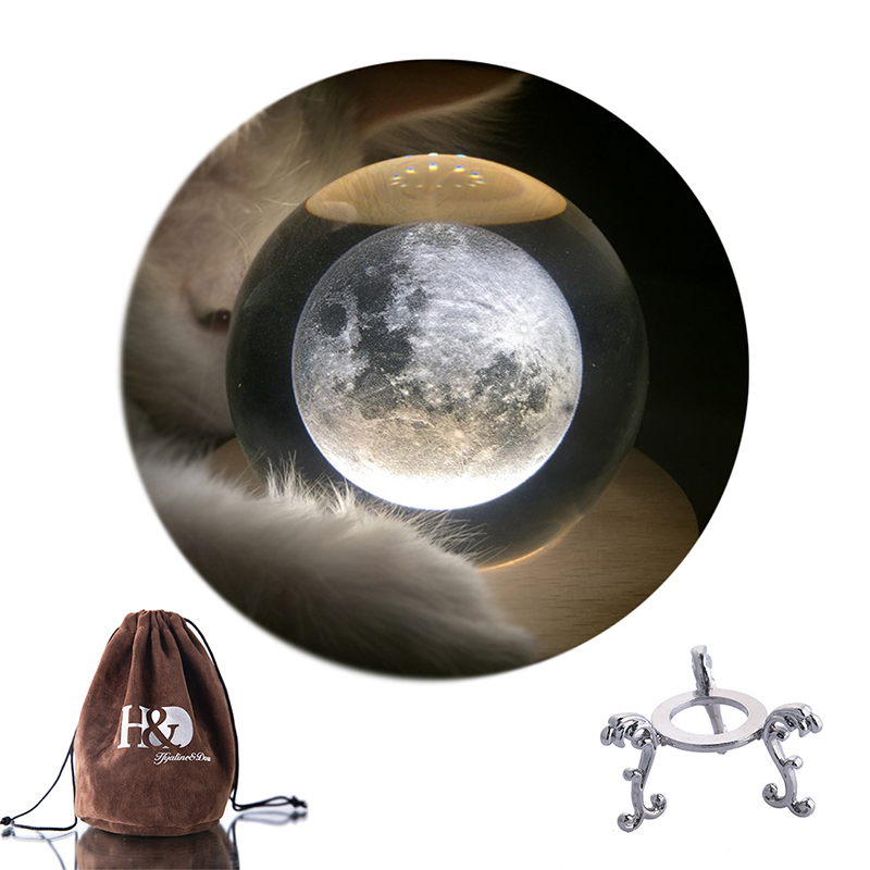 H&D 70mm Crystal Ball Moon Healing Sphere Glass Ball With Stand Holder Gifts Home Decoration Photography