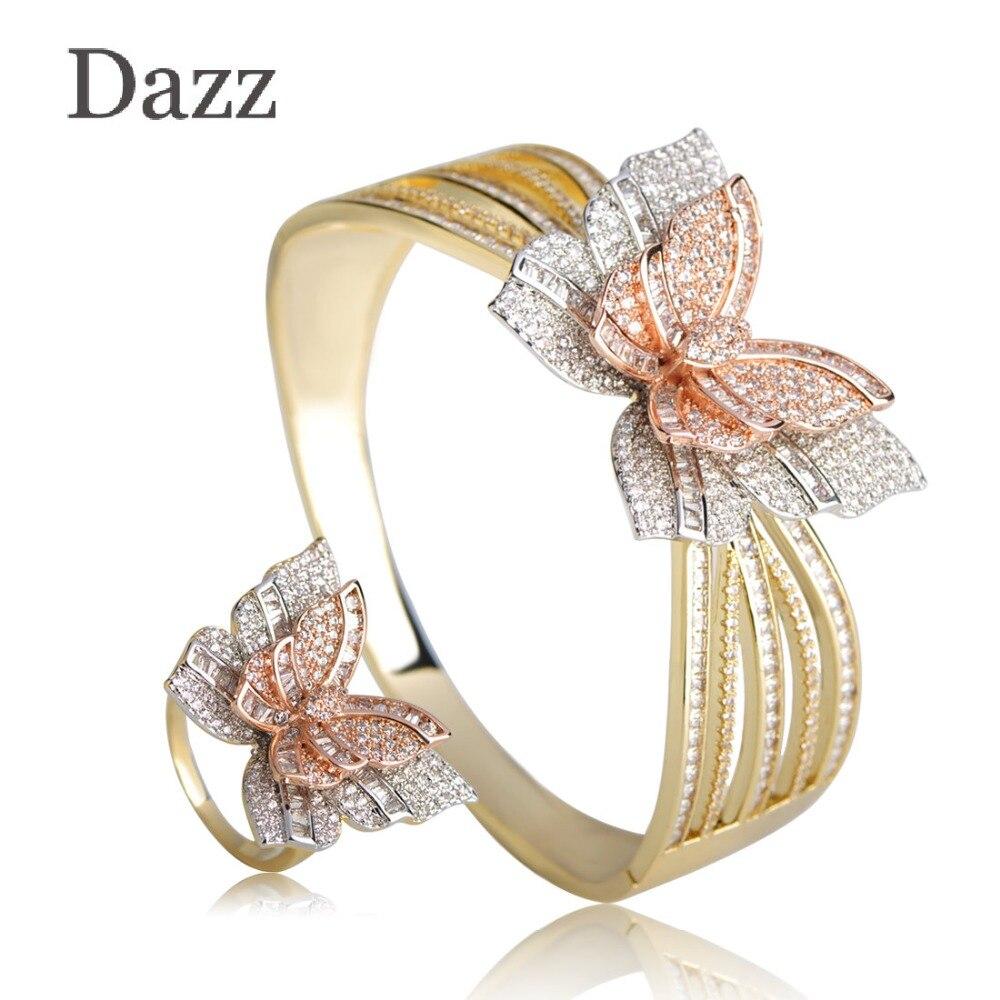 Dazz trois tons papillon forme bracelet bague ensembles AAA + CZ Zircon mariage mariée femmes bijoux ensembles cuivre Animal main bijoux