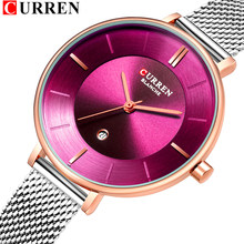 Ladies Dress Mesh Watches Fashion Slim Stainless Steel Wrist Watch For Women CURREN Female Quartz Clock Montre Femme 9037(China)