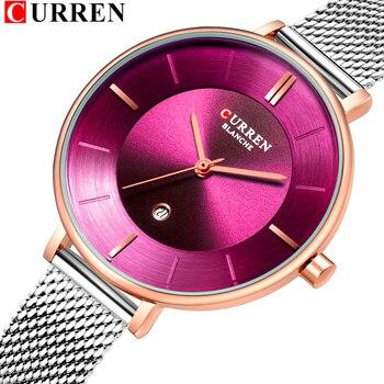 Ladies Dress Mesh Watches Fashion Slim Stainless Steel Wrist Watch For Women CURREN Female Quartz Clock Montre Femme 9037 - discount item  47% OFF Women's Watches