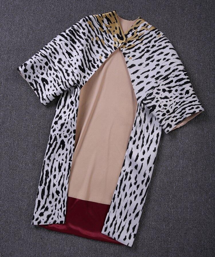European High-end Quality Women's 2018 Spring New Streetwear Fashion White Black Yellow Leopard Print Waistcoat   Trench   Coat S-L