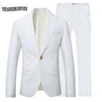 (Blazer + Quần) rắn Trắng Nam Suit Nút Bấm Đơn Trang Phục Giản Dị Homme Slim Fit Big Kích Thước Mens Buổi Tối Phù Hợp Với Với Quần S-3XL