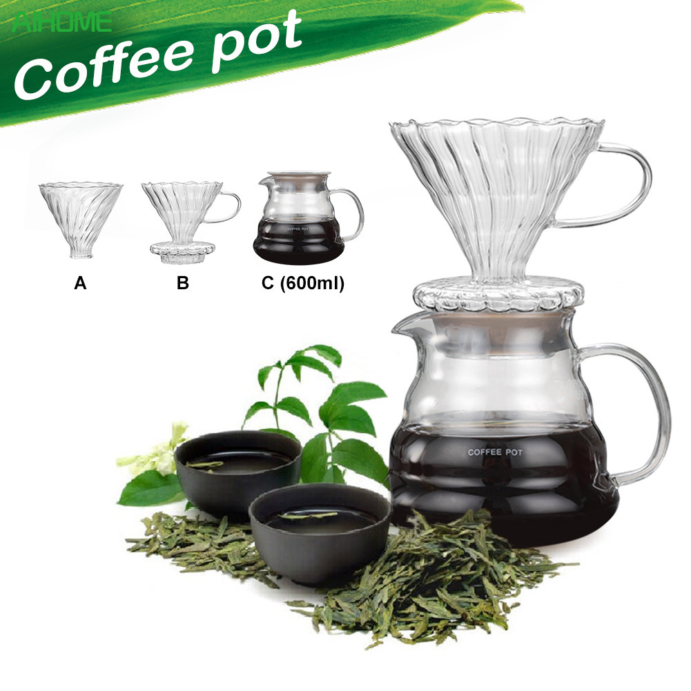 Novelty Coffee Value Bundle Ceramic Coffee Dripper V60 600ml Heat Resistant Glass Coffee Pots Glass Funnel Filters