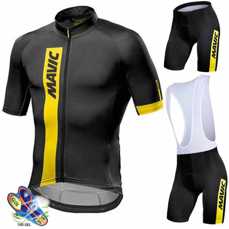 Mavic 2019 summer pro team men's  breathable short sleeve cycling jersey kit ropa ciclismo bicycle bike clothing bib shorts set
