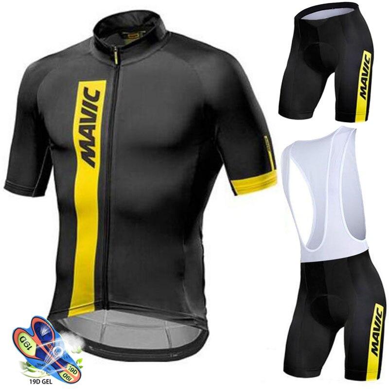 Spor ve Eğlence'ten Bisiklet Takımları'de Mavic 2019 yaz pro takım erkek nefes kısa kollu bisiklet jersey seti ropa ciclismo bisiklet bisiklet giyim bib şort takımı title=