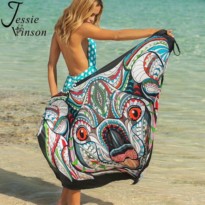 """Image 5 - Женское платье трансформер Jessie Vinson, сарафан с принтом животного, на тонких бретелях """"спагетти"""", без рукавов, накидка, большие размеры, пляжная одежда на летоПлатья   -"""
