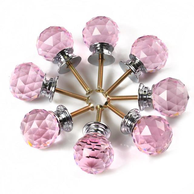 Wonderful 8 X LS A010 Crystal Knobs 30MM Pink Crystal Glass Door Knob + Screw Crystal