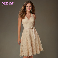 Champagne Lace Bridesmaid Dresses Knee Length V-Neck Back Zipper Wedding Party Dress