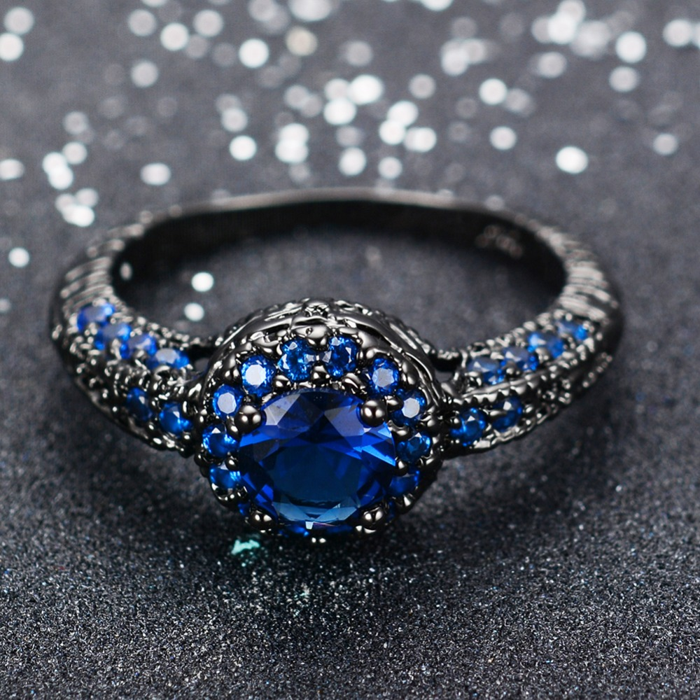 Aliexpress Buy Fashion Blue Female Ring Wedding Band Black Gold Filled Jewelry Promise Engagement Rings For Women Bague Femme Rb0034 From Reliable: Blue Shappire Black Wedding Band At Reisefeber.org