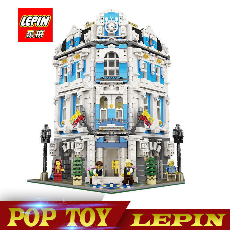 New Lepin 15018 3196pcs Creator City Series Sunshine hotel MOC Model Building Kits Brick Toy Compatible legoed laete 15018