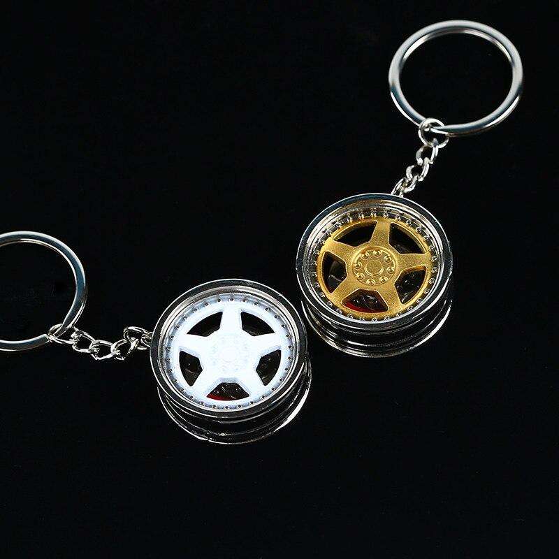 Metal Zinc Alloy Wheel Rim 5 Spoke w/ Disc Brake Tuning Keychain Key Chain Keyring Keyfob Pendent Men Women Gift JDM 1PCS