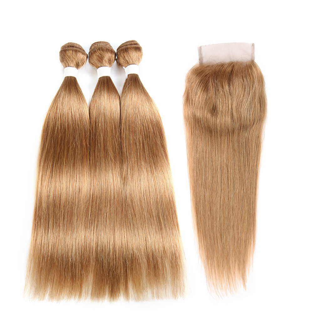 Honey Blonde Brazilian Straight Human Hair Bundles With Closure SOKU Non-Remy Human Hair Weave Bundles 3 Bundles With Closure