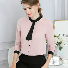 Autumn Female Work Pink White Shirts For Women