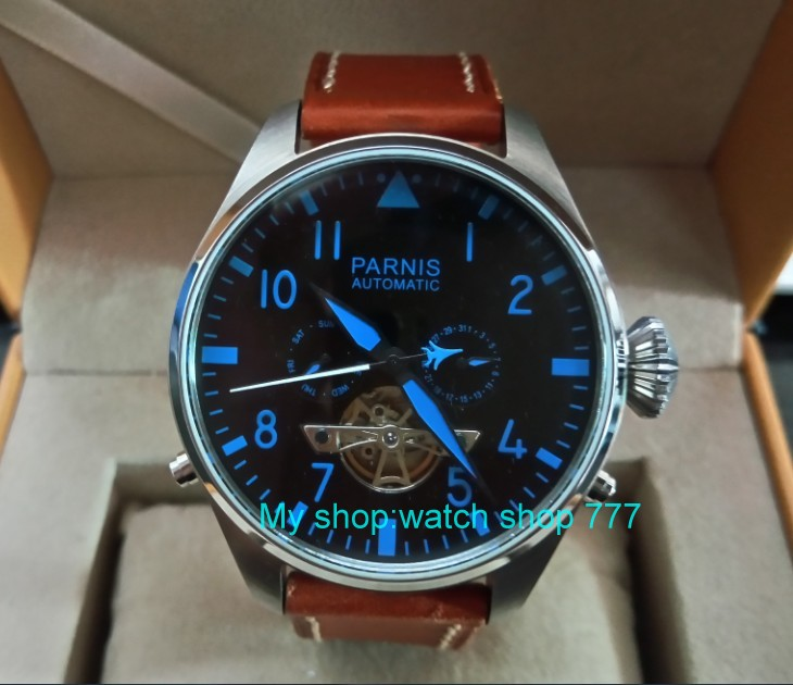 47mm big pilot dial PARNIS Asian st25 Automatic mechanical movement men watches Mechanical watches 73a