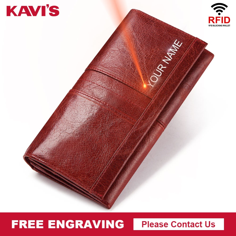KAVIS Genuine Leather Free Engraving Women Wallet Female Coin Purse Hasp Portomonee Clutch Money Bag Lady Handy Card Holder Long