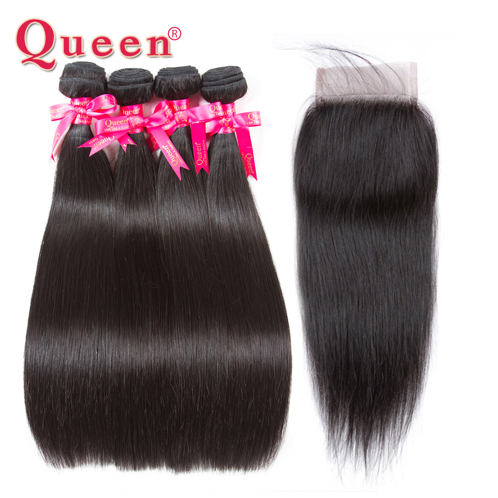 Queen Hair Products Straight Hair Bundles With Closure Peruvian Remy Human Hair 3 4 Bundles With
