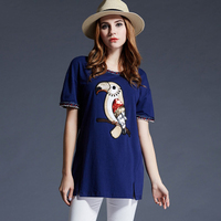 XN6653 XL 5XL Plus Size Summer Fashion Women Casual Short Sleeves O Neck Embroidery Bird Pure