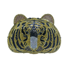 Hot Tiger Clutch Purse Small Animal Clutch Bags for Womens Wedding Prom Dinner Party Luxury Crystal Tiger Evening Purse